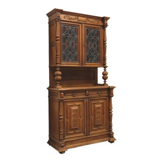 Antique Circa 1900 Jacobean Carved Oak Step Back Cupboard With Stained Glass Doors For Sale