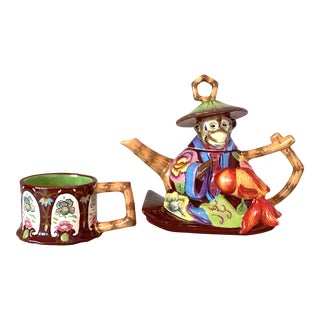 Tracy Porter Tea for One Monkey Teapot Set For Sale