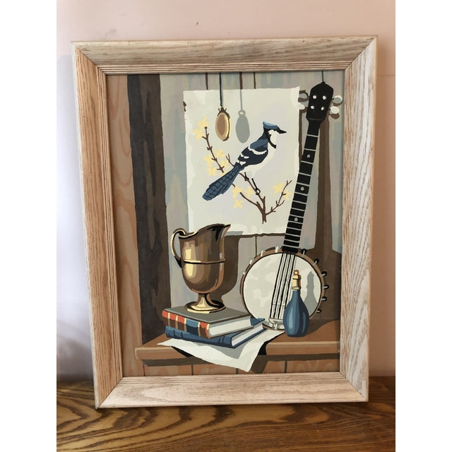 Mid-Century Modern Blue Jay Still Life Paint by Number For Sale - Image 9 of 9