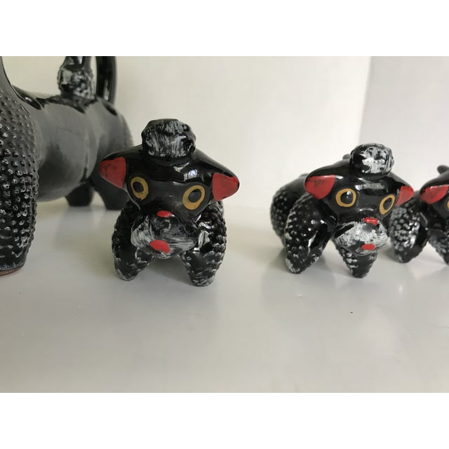 1950s 1950's Poodle Salt and Pepper Shaker With Pups - Set of 7 For Sale - Image 5 of 7