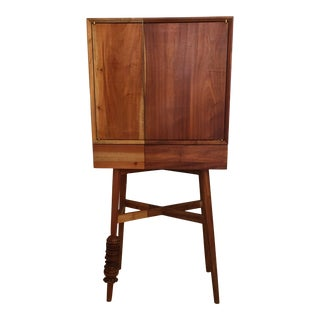 Custom Standing Dry Bar /Cabinet in Grained Wood For Sale