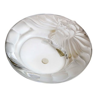 Mid 20th Century Lalique Lions Head Ashtray For Sale