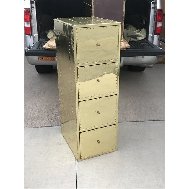 Sarreid Ltd. 1970s Mid Century Modern Brass Studded Four Drawer Filing Cabinet For Sale - Image 4 of 12