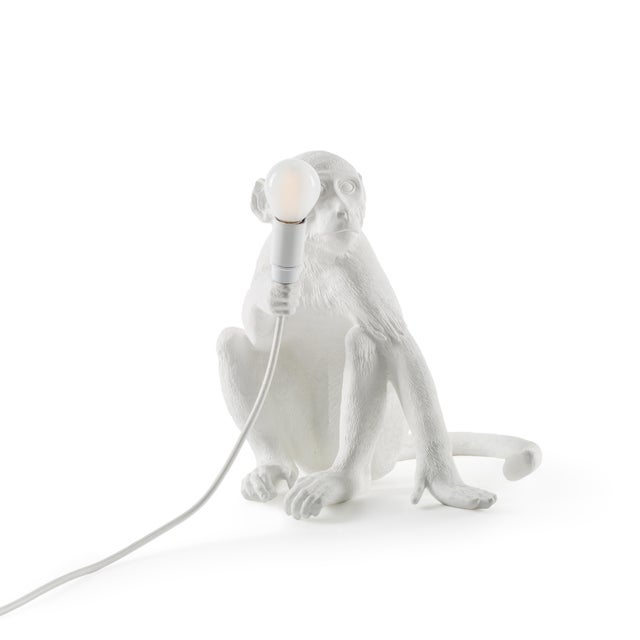 Not Yet Made - Made To Order Seletti, Sitting Monkey Lamp, White, Marcantonio, 2016 For Sale - Image 5 of 11