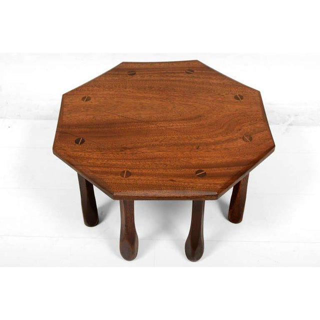 Octagon Solid Mahogany Side Table For Sale - Image 4 of 8