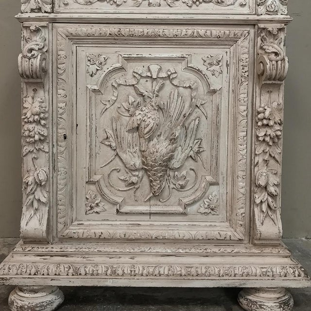 19th Century French Renaissance Painted Hunt Bookcase Buffet a Deux Corps For Sale - Image 9 of 12