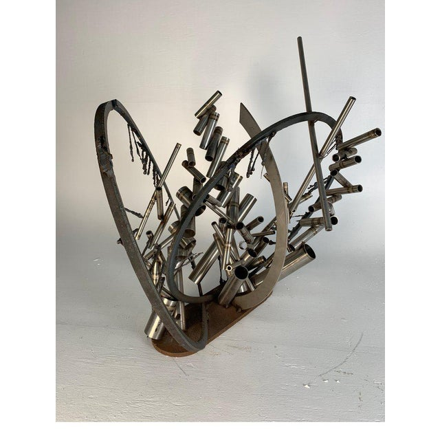 """Silver Late 20th Century D. Phillips """"Gates"""" Welded Steel Sculpture For Sale - Image 8 of 11"""