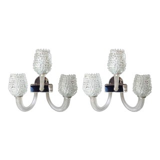 Pair of Mid Century Modern Clear Murano Glass Sconces, by Barovier, Italy, 2 Pairs Available For Sale