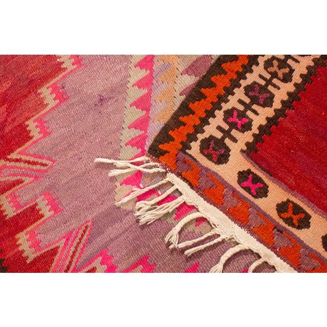 Vintage Mid-Century Red Geometric Wool Kilim Rug - 4′4″ × 9′4″ For Sale - Image 4 of 6