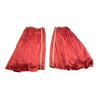 Vintage Fully Lined Raspberry Satin Drapes - a Pair For Sale