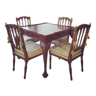 Hand Carved Wooden Game Table For Sale
