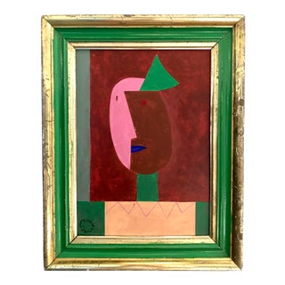 Abstract Portrait in Antique Water Gilt Frame by Seymour Zayon For Sale