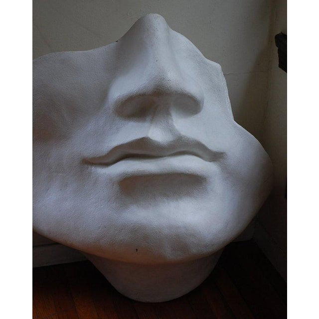 Mid Century Large Scale Faux Plaster Face Sculpture For Sale - Image 4 of 5