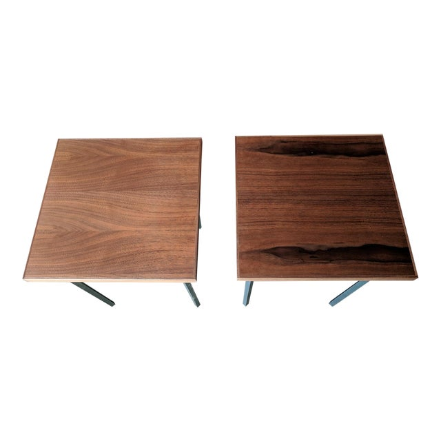 Custom Walnut & Iron Side Tables - A Pair - Image 1 of 5