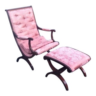 Late 20th Century Vintage Kindel Winterthur Collection Mahogany Campeche or Lolling Chair & Ottoman For Sale