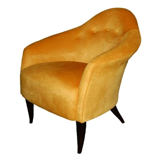 Custom Snygg Arm Chair in Yellow Ultrasuede - Image 1 of 1