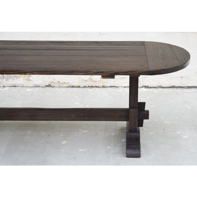 Not Yet Made - Made To Order Country Racetrack Trestle Table Made From Reclaimed Pine For Sale - Image 5 of 11