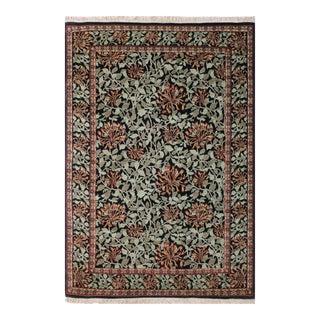 """William Morris Pak-Persian Flora Black Green Wool Rug - 6'0"""" x 9'3"""""""