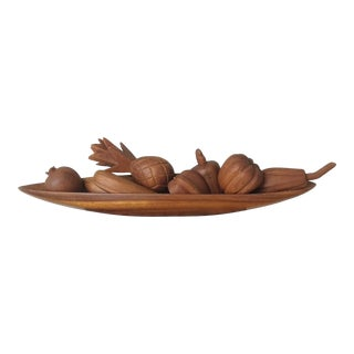 Mid-Century Carved Wood Tiki Fruit Centerpiece For Sale