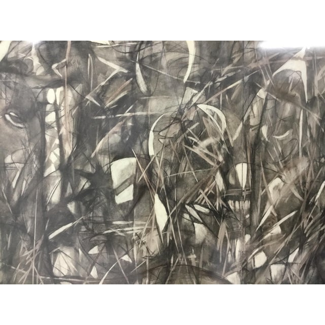 Large Format Framed Abstract Ink and Charcoal Drawing For Sale - Image 10 of 13