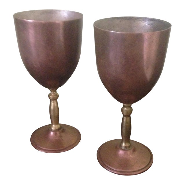 Copper & Brass Goblets - a Pair - Image 1 of 11