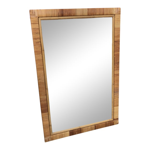 Vintage Rectangular Bamboo and Rattan Wall Mirror For Sale