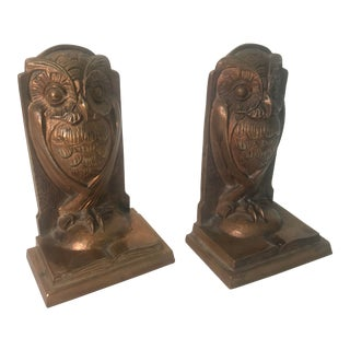 1940s Bronze Owl Bookends. - a Pair For Sale