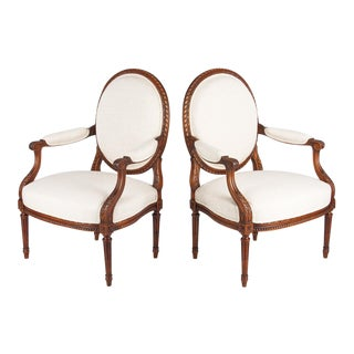 Pair of Louis XVI Style Medallion Back Armchairs, Circa 1920s