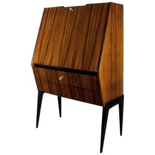 1950s Dry Bar, Walnut, Mahogany, Opaline, Drop-Leaf Door - Italy For Sale