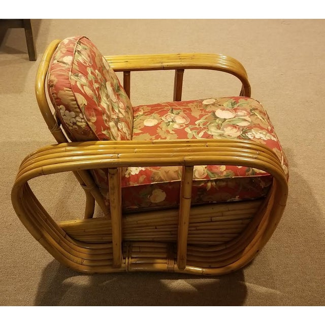 Mid-Century Vintage Paul Frankl Style Bamboo Rattan Lounge Chairs - a Pair For Sale In New York - Image 6 of 11
