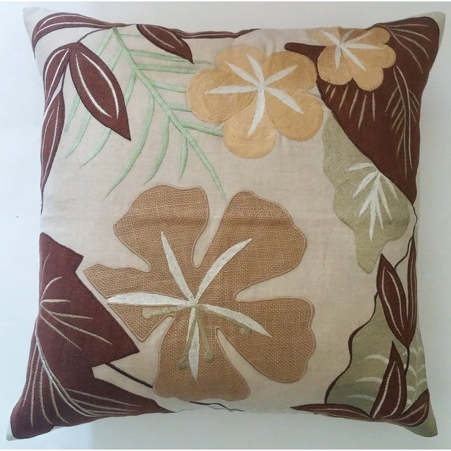 Tropical Embroidered Pillow Cover - Image 2 of 3