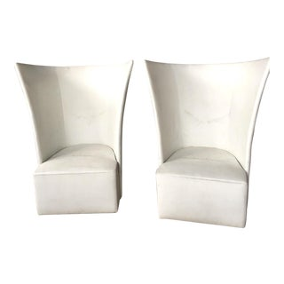 Set of 4 Modern White Winged Lounge Chairs For Sale