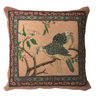 Asian Style Birds Needlepoint Pillow For Sale