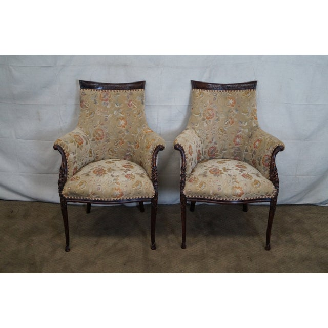 Vintage Mahogany Carved Fire Side Host Wing Chairs - Image 2 of 10