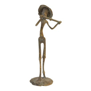 Mid 20th Century African Bronze Musician Statue For Sale