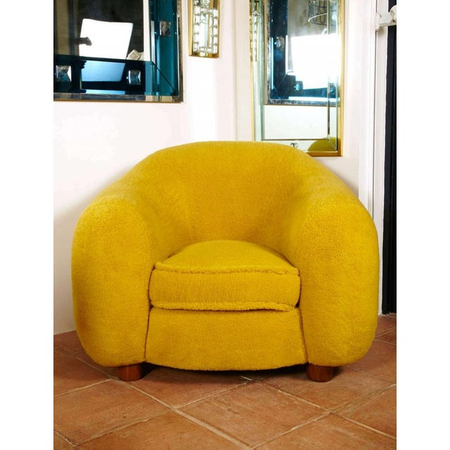 "Yellow Jean Royère Genuine Iconic ""Ours Polaire"" Pair of Armchairs in Wool Faux Fur For Sale - Image 8 of 11"
