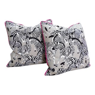 Zebra Pillows, Custom Made with Hidden Zipper - a Pair For Sale