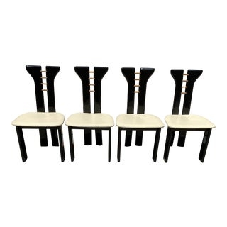 Pierre Cardin Italian Lacquer Postmodern Dining Chairs With Leather Seats - Set of 4 For Sale