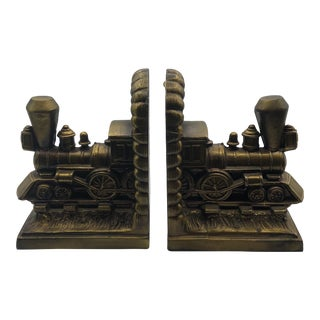 1970s Vintage Choo-Choo Train Bookends - A Pair For Sale