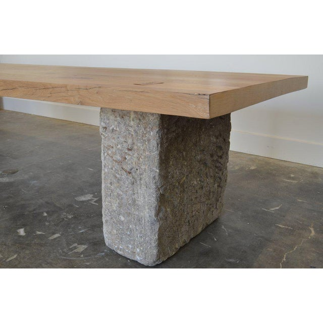 Oz|shop Antique Oak and Limestone Block Long Table For Sale In Phoenix - Image 6 of 7