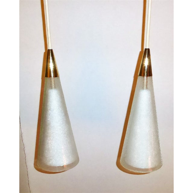 1950s Italian Double Cone Glass and Brass Pendants - a Pair For Sale - Image 10 of 10