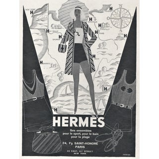 Matted 1930 French Art Deco Hermès Beach-Sport Fashion Advertisement Print For Sale