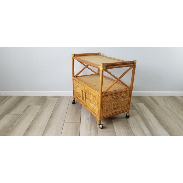 Vintage Two Tier Rolling Bar Cart For Sale - Image 4 of 10
