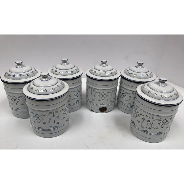Vintage French Country Enamel Canister Set - Set of 6 For Sale - Image 10 of 13