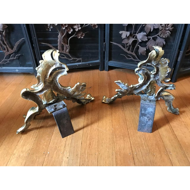 """French fireplace chenets with cherub motif, circa 1890-1900. Small size at 9"""" height, 10"""" width 7"""" depth. Excellent..."""