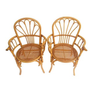 1980s Vintage Bent Bamboo Arm Chairs - a Pair Preview
