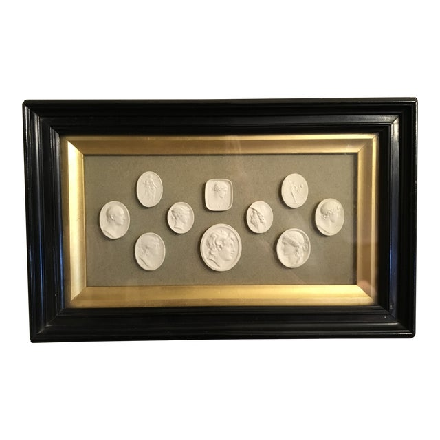 19th Century Antique European Grand Tour Framed Plaster Intaglios For Sale