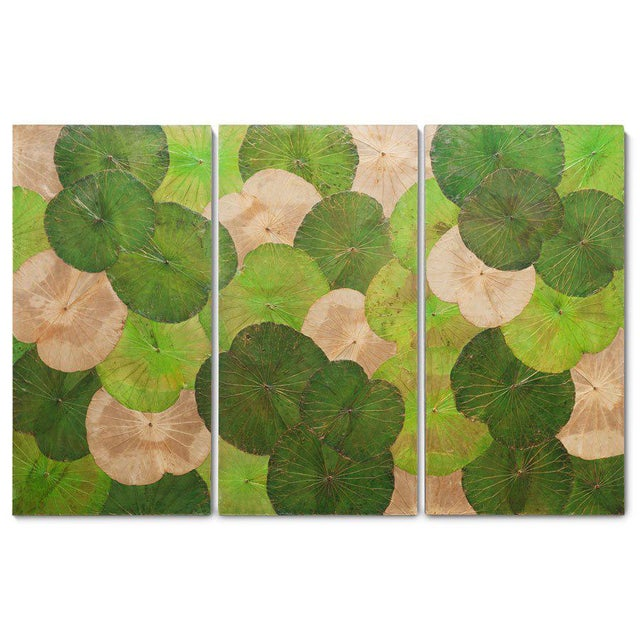 Asian Contemporary Thai Lotus Wall Hangings - Set of 3 For Sale - Image 3 of 3