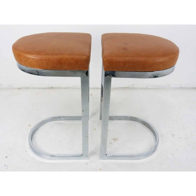 Milo Baughman Style Flat Bar Chrome Cantilever Bar Stools - A Pair - Image 5 of 10