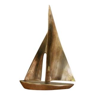 Vintage Mid Century Modern Brass Sailboat Statue
